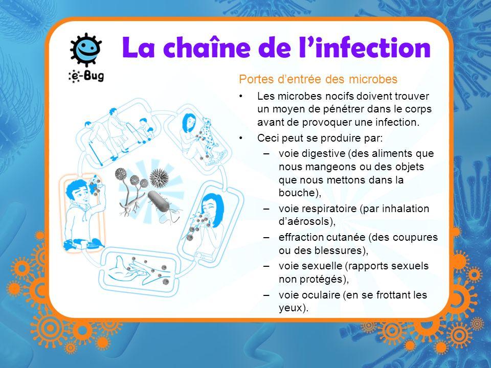 La chaîne de linfection Portes dentrée des microbes Les microbes nocifs doivent trouver un moyen de pénétrer dans le corps avant de provoquer une infe