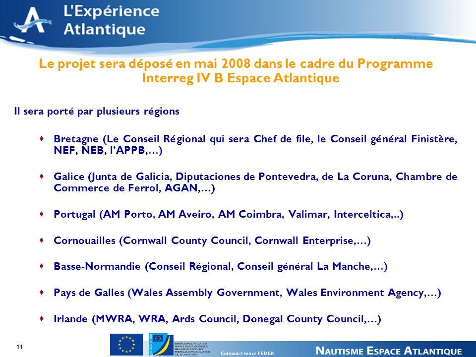 11 Le projet sera déposé en mai 2008 dans le cadre du Programme Interreg IV B Espace Atlantique Il sera porté par plusieurs régions Bretagne (Le Conseil Régional qui sera Chef de file, le Conseil général Finistère, NEF, NEB, lAPPB,…) Galice (Junta de Galicia, Diputaciones de Pontevedra, de La Coruna, Chambre de Commerce de Ferrol, AGAN,…) Portugal (AM Porto, AM Aveiro, AM Coimbra, Valimar, Interceltica,..) Cornouailles (Cornwall County Council, Cornwall Enterprise,…) Basse-Normandie (Conseil Régional, Conseil général La Manche,…) Pays de Galles (Wales Assembly Government, Wales Environment Agency,…) Irlande (MWRA, WRA, Ards Council, Donegal County Council,…)