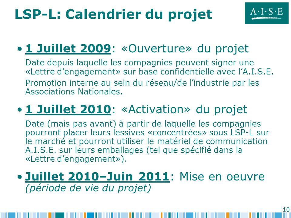 10 LSP-L: Calendrier du projet 1 Juillet 2009: «Ouverture» du projet Date depuis laquelle les compagnies peuvent signer une «Lettre dengagement» sur b