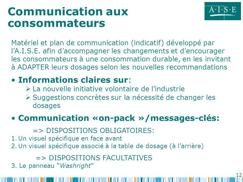 12 Communication aux consommateurs Matériel et plan de communication (indicatif) développé par lA.I.S.E. afin daccompagner les changements et dencoura