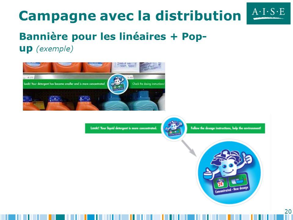 20 Bannière pour les linéaires + Pop- up (exemple) Campagne avec la distribution
