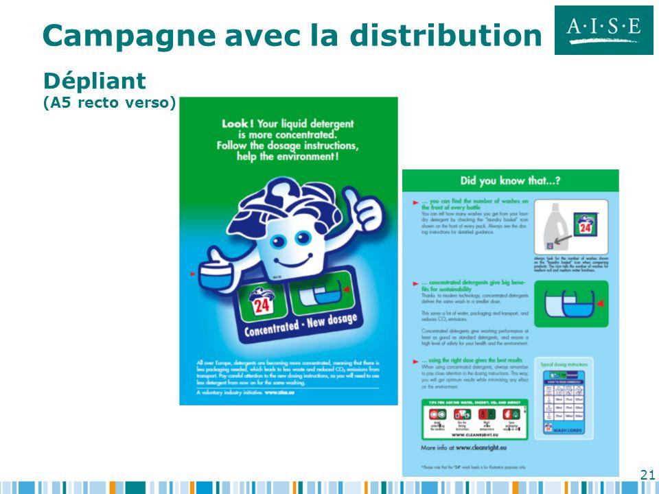 21 Dépliant (A5 recto verso) Campagne avec la distribution