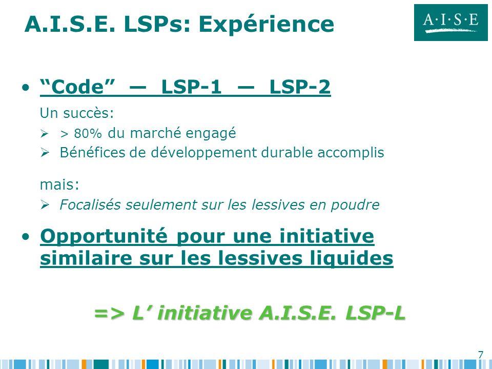 7 A.I.S.E. LSPs: Expérience Code LSP-1 LSP-2 Un succès: > 80% du marché engagé Bénéfices de développement durable accomplis mais: Focalisés seulement