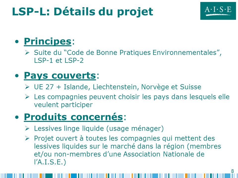 8 LSP-L: Détails du projet Principes: Suite du Code de Bonne Pratiques Environnementales, LSP-1 et LSP-2 Pays couverts: UE 27 + Islande, Liechtenstein