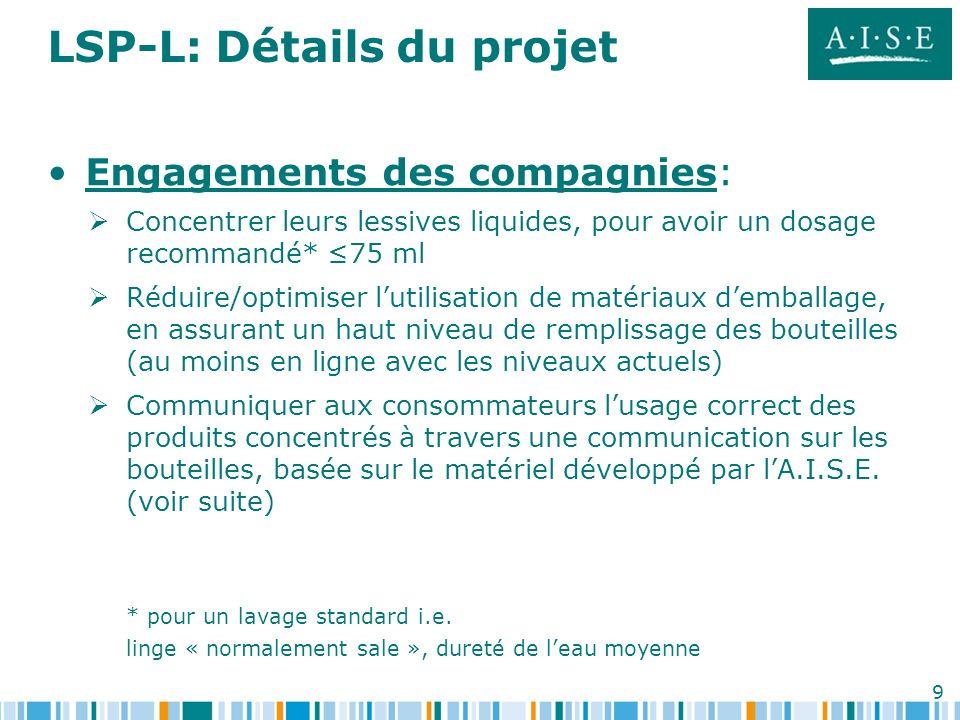 9 LSP-L: Détails du projet Engagements des compagnies: Concentrer leurs lessives liquides, pour avoir un dosage recommandé* 75 ml Réduire/optimiser lu