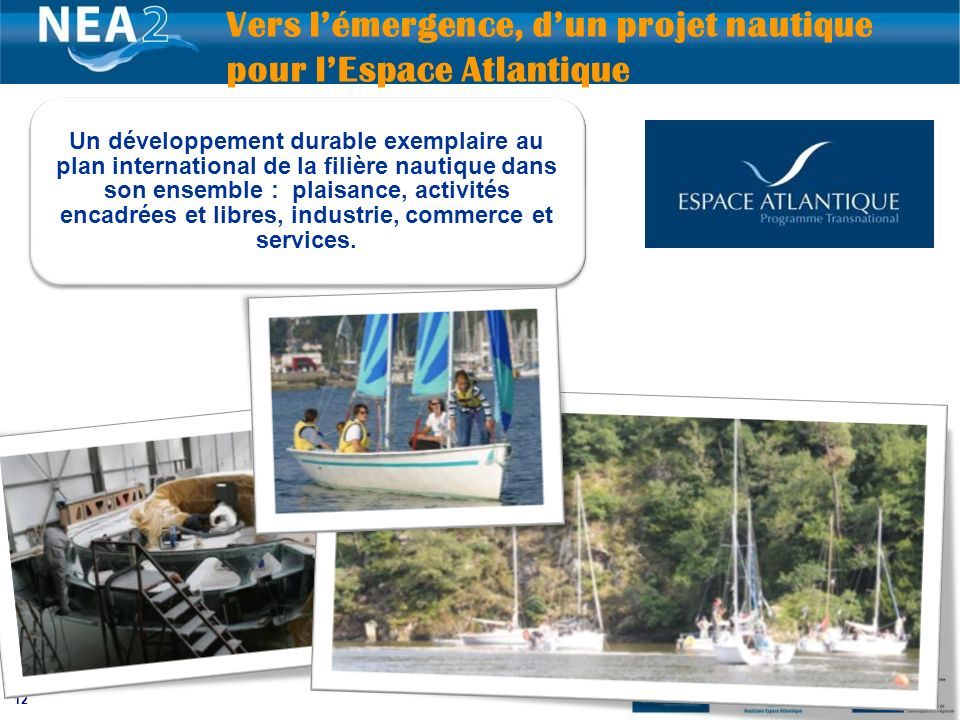 12 Vers lémergence, dun projet nautique pour lEspace Atlantique Un développement durable exemplaire au plan international de la filière nautique dans