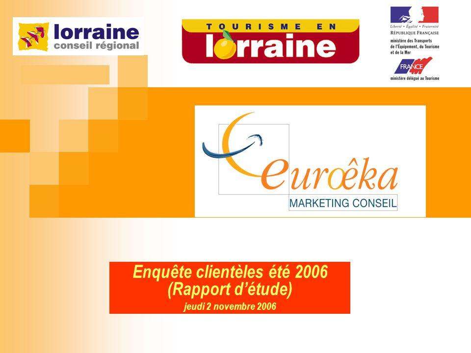 Enquête clientèles été 2006 2 Contexte03 Objectifs détude 04 Méthodologie 05 RESULTATS 13 Profil visiteurs14 A) Avec qui vient-on, visite-t-on la Lorraine .