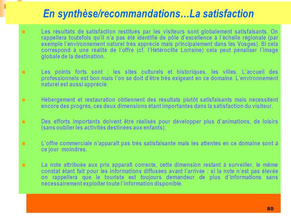 Enquête clientèles été 2006 80 En synthèse/recommandations…La satisfaction Les résultats de satisfaction restitués par les visiteurs sont globalement satisfaisants.