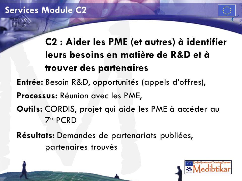 M Services Module C2 C2 : Aider les PME (et autres) à identifier leurs besoins en matière de R&D et à trouver des partenaires Entrée: Besoin R&D, opportunités (appels doffres), Processus: Réunion avec les PME, Outils: CORDIS, projet qui aide les PME à accéder au 7 e PCRD Résultats: Demandes de partenariats publiées, partenaires trouvés