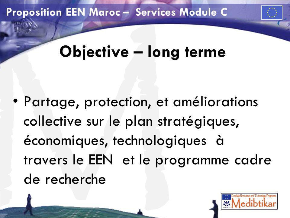 M Proposition EEN Maroc – Services Module C Objective – long terme Partage, protection, et améliorations collective sur le plan stratégiques, économiques, technologiques à travers le EEN et le programme cadre de recherche