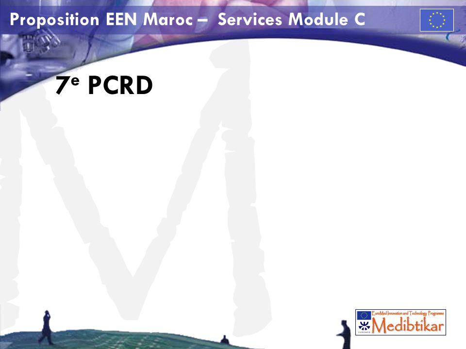 M Proposition EEN Maroc – Services Module C 7 e PCRD sources dinformation Introduction http://cordis.europa.eu/home_fr.html Guide http://ec.europa.eu/research/fp7/understanding/fp7in brief/home_fr.htmlhttp://ec.europa.eu/research/fp7/understanding/fp7in brief/home_fr.html Appels doffres http://cordis.europa.eu/fp7/dc/index.cfm