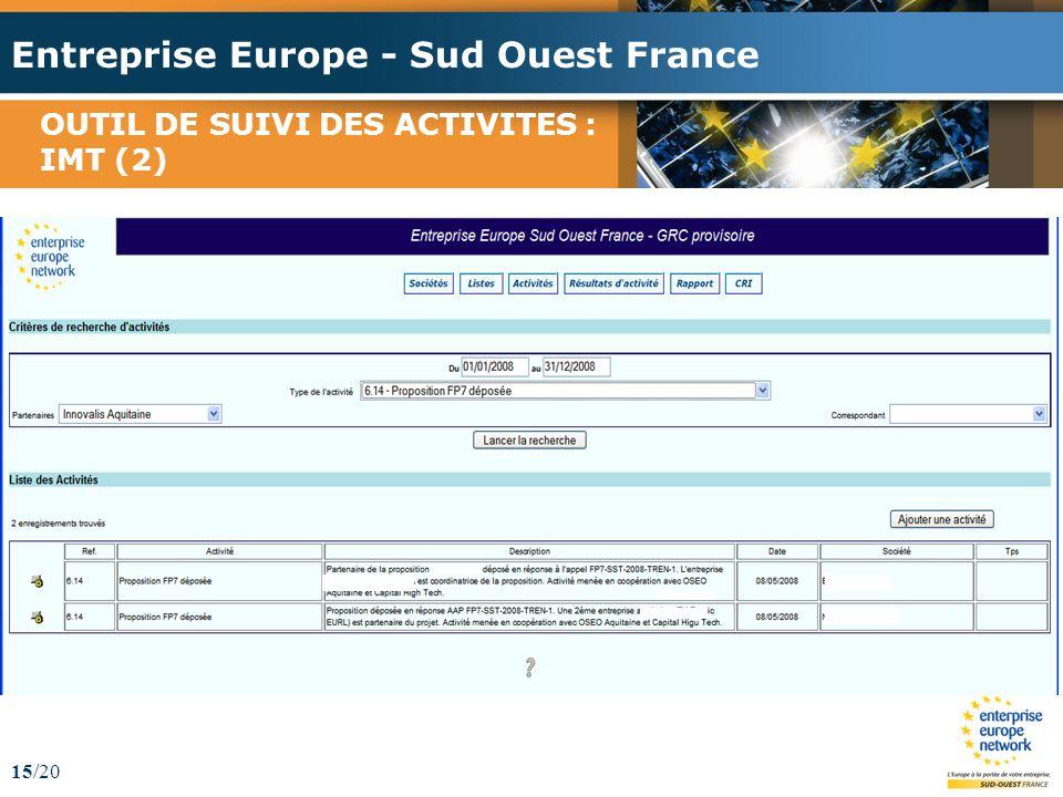 Entreprise Europe - Sud Ouest France 15/20 OUTIL DE SUIVI DES ACTIVITES : IMT (2)
