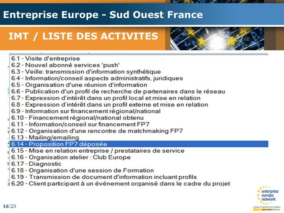 Entreprise Europe - Sud Ouest France 16/20 IMT / LISTE DES ACTIVITES