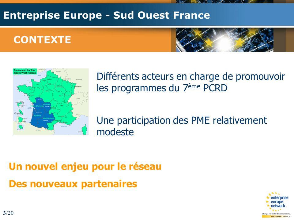 Entreprise Europe - Sud Ouest France 3/20 CONTEXTE Différents acteurs en charge de promouvoir les programmes du 7 ème PCRD Une participation des PME relativement modeste Un nouvel enjeu pour le réseau Des nouveaux partenaires