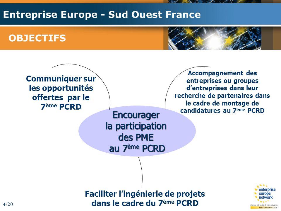 Entreprise Europe - Sud Ouest France 4/20 OBJECTIFS Accompagnement des entreprises ou groupes dentreprises dans leur recherche de partenaires dans le cadre de montage de candidatures au 7 ème PCRD Communiquer sur les opportunités offertes par le 7 ème PCRD Faciliter lingénierie de projets dans le cadre du 7 ème PCRD Encourager la participation des PME au 7 ème PCRD