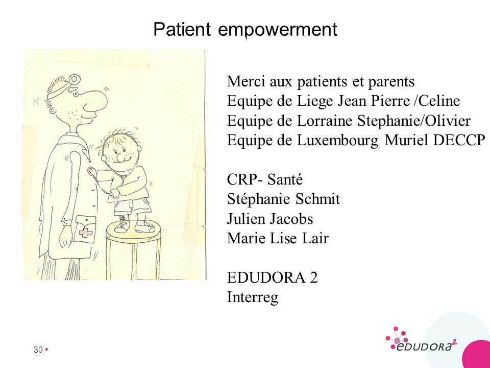 30 Patient empowerment Merci aux patients et parents Equipe de Liege Jean Pierre /Celine Equipe de Lorraine Stephanie/Olivier Equipe de Luxembourg Mur