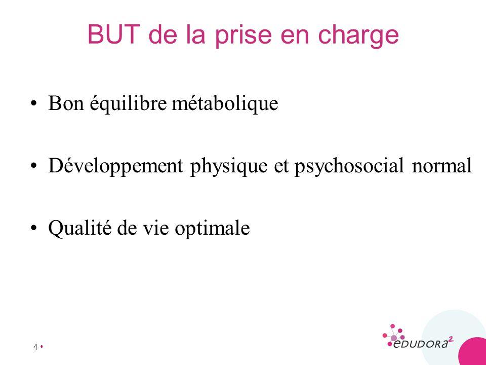 4 BUT de la prise en charge Bon équilibre métabolique Développement physique et psychosocial normal Qualité de vie optimale
