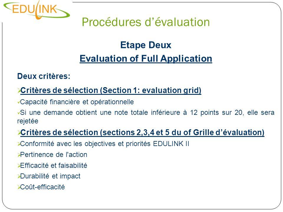 Procédures dévaluation Etape Deux Evaluation of Full Application Deux critères: Critères de sélection (Section 1: evaluation grid) Capacité financière