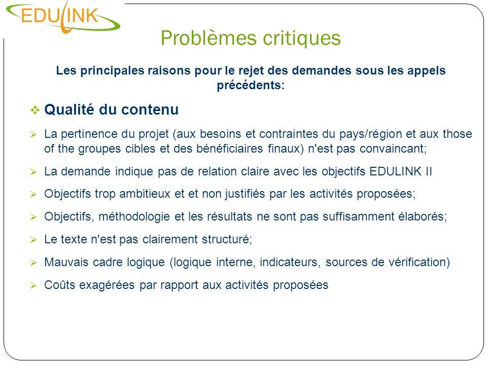 Problèmes critiques Les principales raisons pour le rejet des demandes sous les appels précédents: Qualité du contenu La pertinence du projet (aux bes