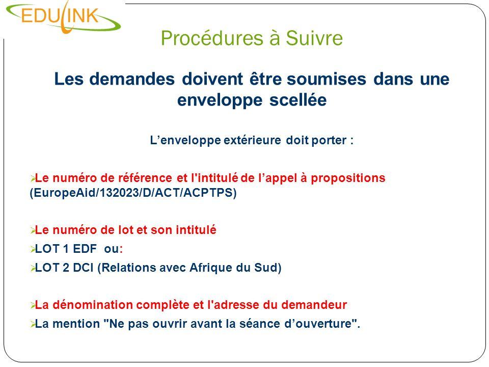 Procédures à Suivre Les demandes doivent être soumises dans une enveloppe scellée Lenveloppe extérieure doit porter : Le numéro de référence et l'inti