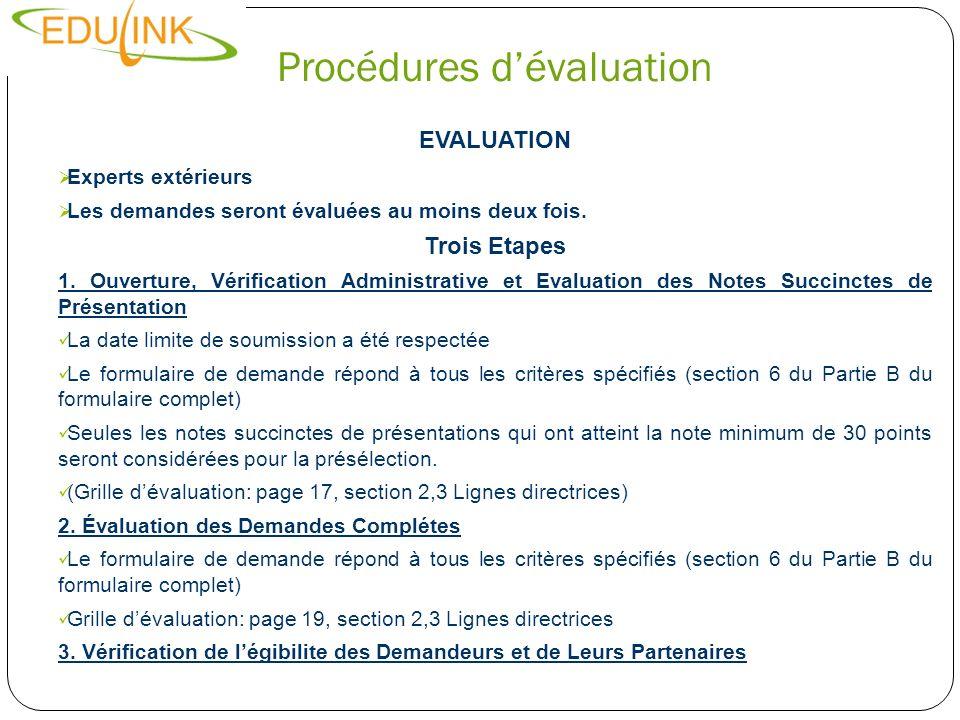 Procédures dévaluation Etape Deux Evaluation of Full Application Deux critères: Critères de sélection (Section 1: evaluation grid) Capacité financière et opérationnelle Si une demande obtient une note totale inférieure à 12 points sur 20, elle sera rejetée Critères de sélection (sections 2,3,4 et 5 du of Grille dévaluation) Conformité avec les objectives et priorités EDULINK II Pertinence de l action Efficacité et faisabilité Durabilité et impact Coût-efficacité