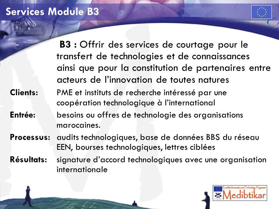 M Services Module B3 B3 : Offrir des services de courtage pour le transfert de technologies et de connaissances ainsi que pour la constitution de partenaires entre acteurs de linnovation de toutes natures Clients:PME et instituts de recherche intéressé par une coopération technologique à linternational Entrée: besoins ou offres de technologie des organisations marocaines.