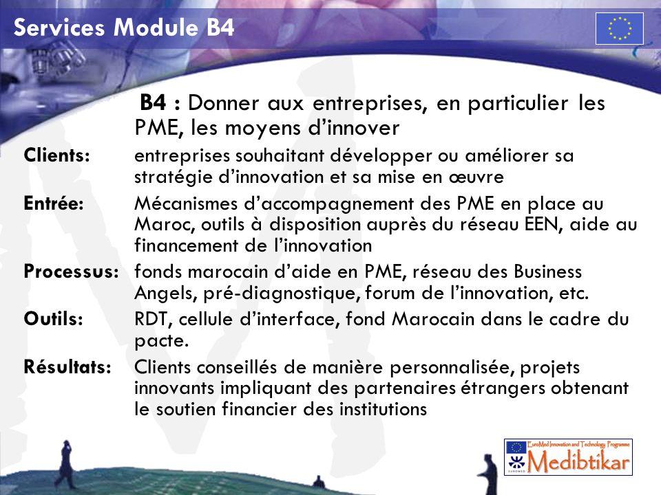 M Services Module B4 B4 : Donner aux entreprises, en particulier les PME, les moyens dinnover Clients:entreprises souhaitant développer ou améliorer sa stratégie dinnovation et sa mise en œuvre Entrée: Mécanismes daccompagnement des PME en place au Maroc, outils à disposition auprès du réseau EEN, aide au financement de linnovation Processus: fonds marocain daide en PME, réseau des Business Angels, pré-diagnostique, forum de linnovation, etc.