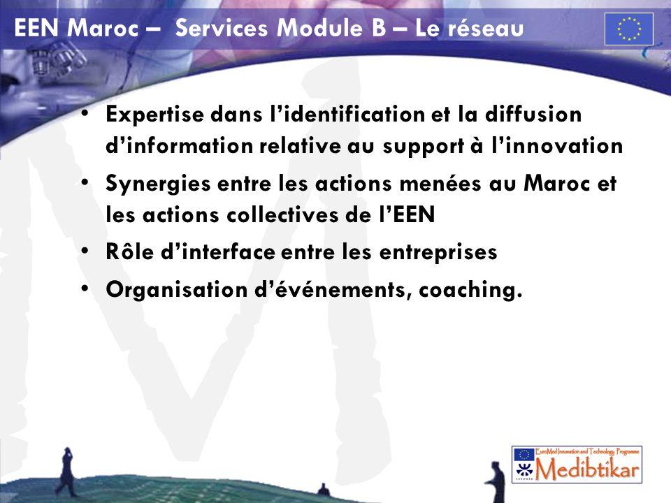 M EEN Maroc – Services Module B – Le réseau Expertise dans lidentification et la diffusion dinformation relative au support à linnovation Synergies entre les actions menées au Maroc et les actions collectives de lEEN Rôle dinterface entre les entreprises Organisation dévénements, coaching.