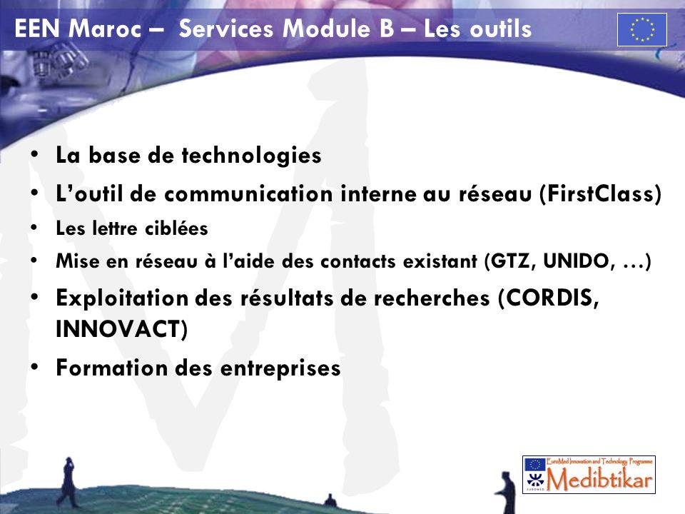 M EEN Maroc – Services Module B – Les outils La base de technologies Loutil de communication interne au réseau (FirstClass) Les lettre ciblées Mise en réseau à laide des contacts existant (GTZ, UNIDO, …) Exploitation des résultats de recherches (CORDIS, INNOVACT) Formation des entreprises
