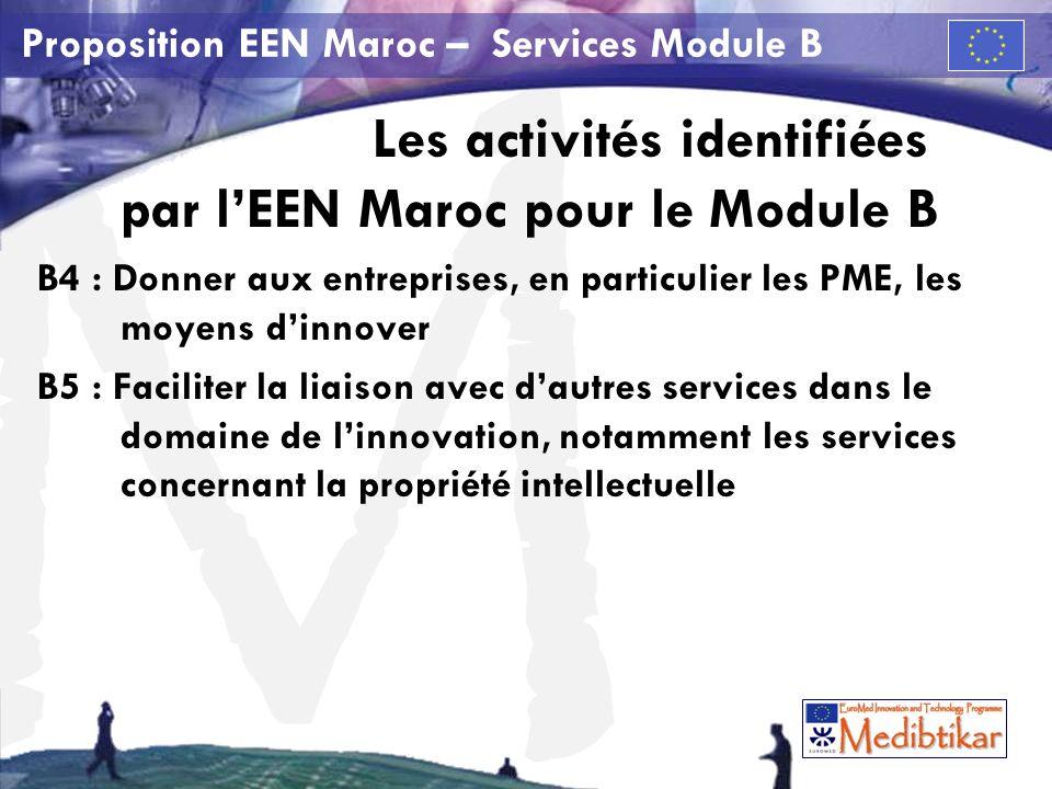M Proposition EEN Maroc – Services Module B Les activités identifiées par lEEN Maroc pour le Module B B4 : Donner aux entreprises, en particulier les PME, les moyens dinnover B5 : Faciliter la liaison avec dautres services dans le domaine de linnovation, notamment les services concernant la propriété intellectuelle