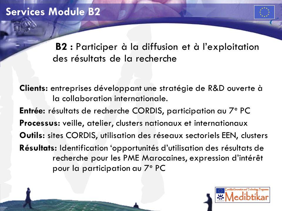 M Services Module B2 B2 : Participer à la diffusion et à lexploitation des résultats de la recherche Clients: entreprises développant une stratégie de R&D ouverte à la collaboration internationale.
