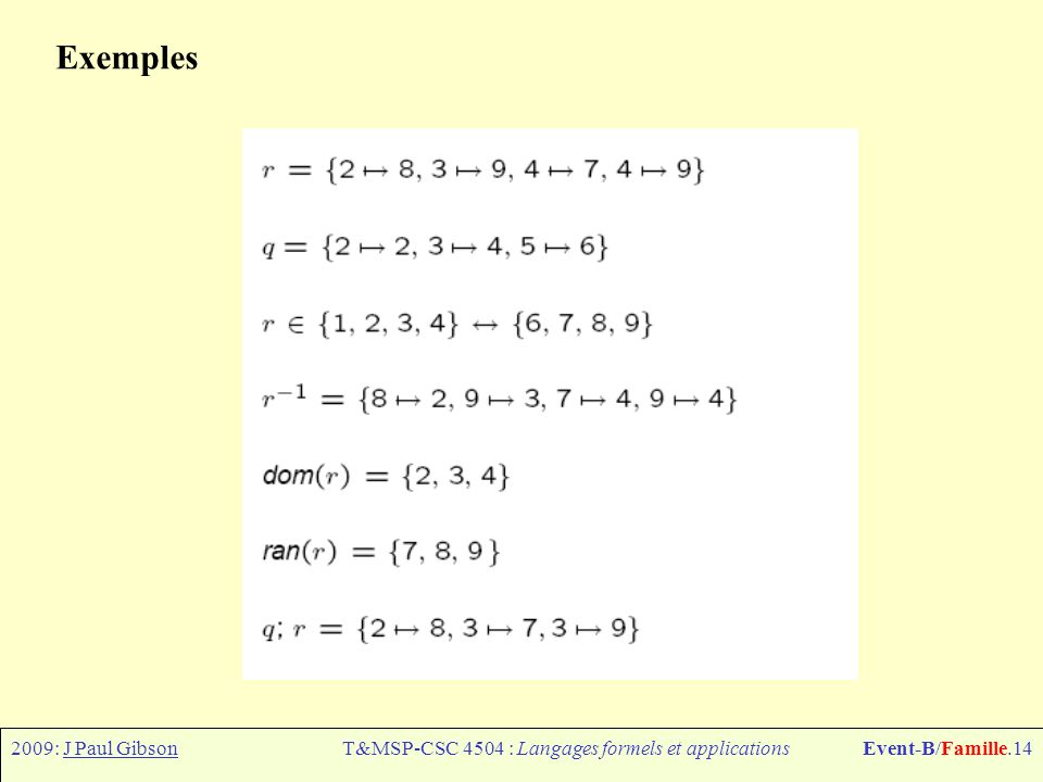 2009: J Paul GibsonT&MSP-CSC 4504 : Langages formels et applicationsEvent-B/Famille.15 Les relations: