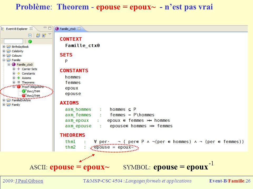 2009: J Paul GibsonT&MSP-CSC 4504 : Langages formels et applicationsEvent-B/Famille.26 Problème: Theorem - epouse = epoux~ - nest pas vrai ASCII: epouse = epoux~ SYMBOL: epouse = epoux