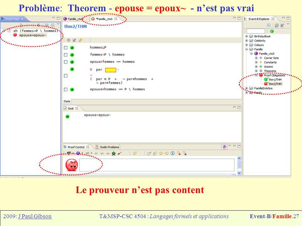 2009: J Paul GibsonT&MSP-CSC 4504 : Langages formels et applicationsEvent-B/Famille.27 Le prouveur nest pas content Problème: Theorem - epouse = epoux~ - nest pas vrai