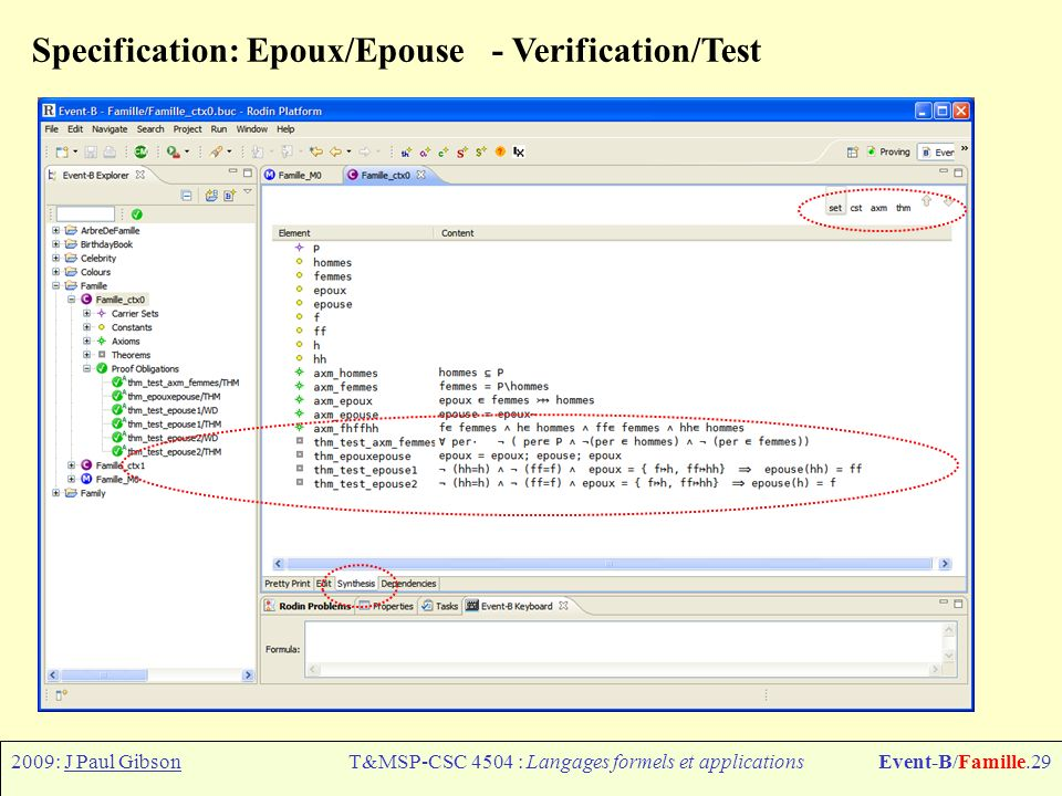 2009: J Paul GibsonT&MSP-CSC 4504 : Langages formels et applicationsEvent-B/Famille.29 Specification: Epoux/Epouse - Verification/Test