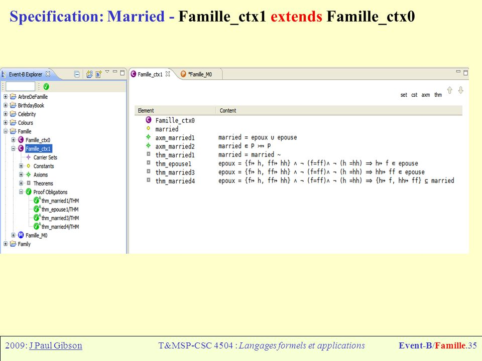2009: J Paul GibsonT&MSP-CSC 4504 : Langages formels et applicationsEvent-B/Famille.35 Specification: Married - Famille_ctx1 extends Famille_ctx0