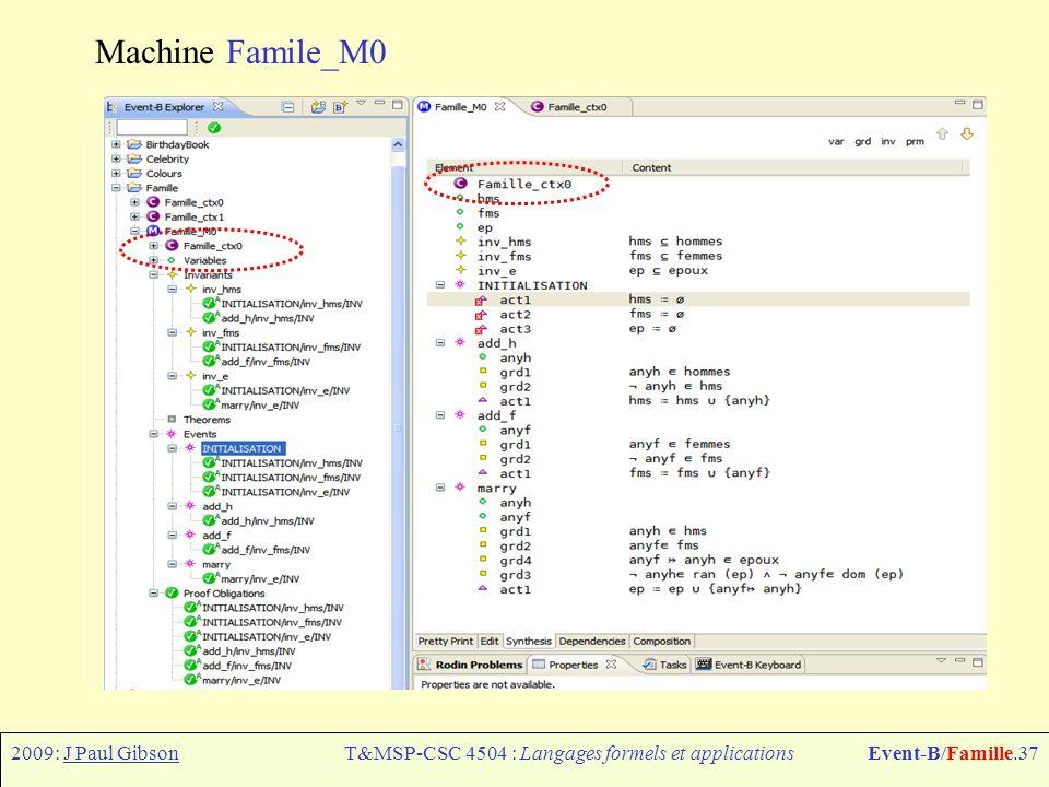 2009: J Paul GibsonT&MSP-CSC 4504 : Langages formels et applicationsEvent-B/Famille.38 Machine Famile_M0