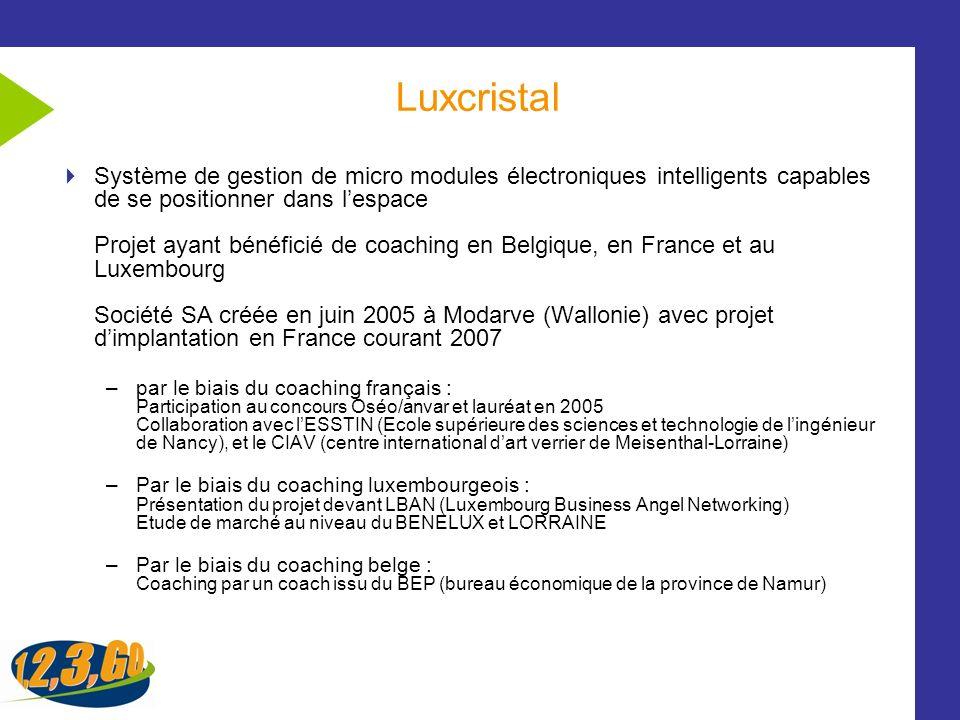 Luxcristal Système de gestion de micro modules électroniques intelligents capables de se positionner dans lespace Projet ayant bénéficié de coaching e