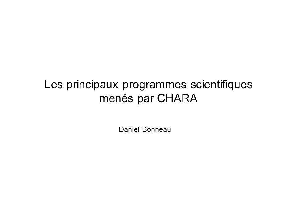 Les principaux programmes scientifiques menés par CHARA Daniel Bonneau
