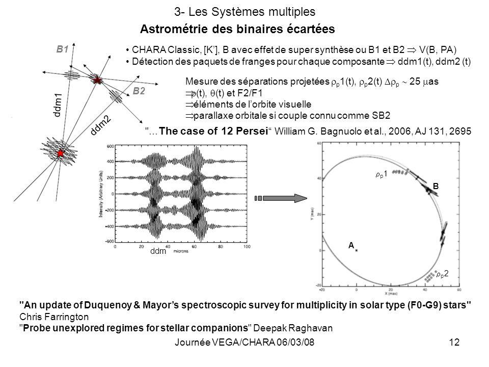 Journée VEGA/CHARA 06/03/0812 3- Les Systèmes multiples Astrométrie des binaires écartées