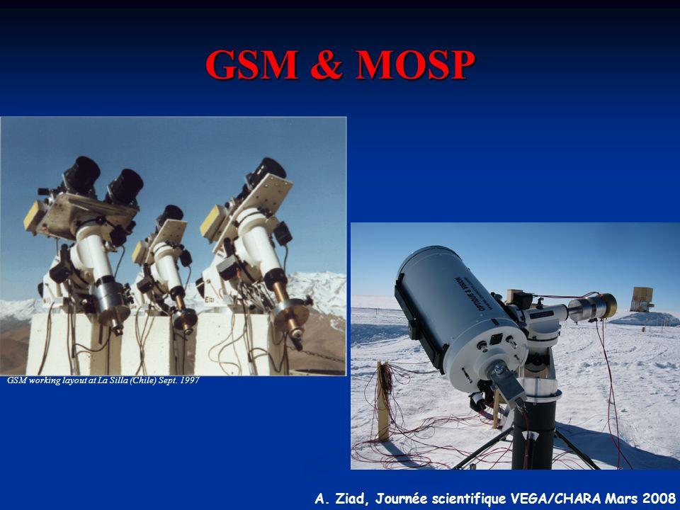 A. Ziad, Journée scientifique VEGA/CHARA Mars 2008 GSM & MOSP GSM working layout at La Silla (Chile) Sept. 1997