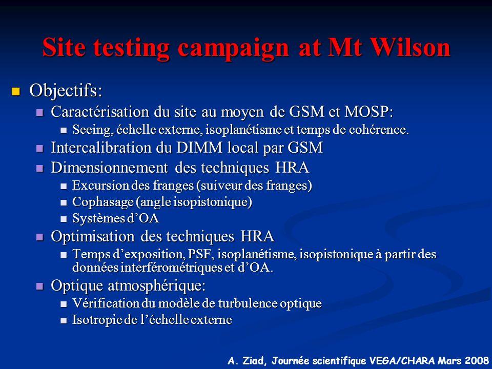 A. Ziad, Journée scientifique VEGA/CHARA Mars 2008 Site testing campaign at Mt Wilson Objectifs: Objectifs: Caractérisation du site au moyen de GSM et