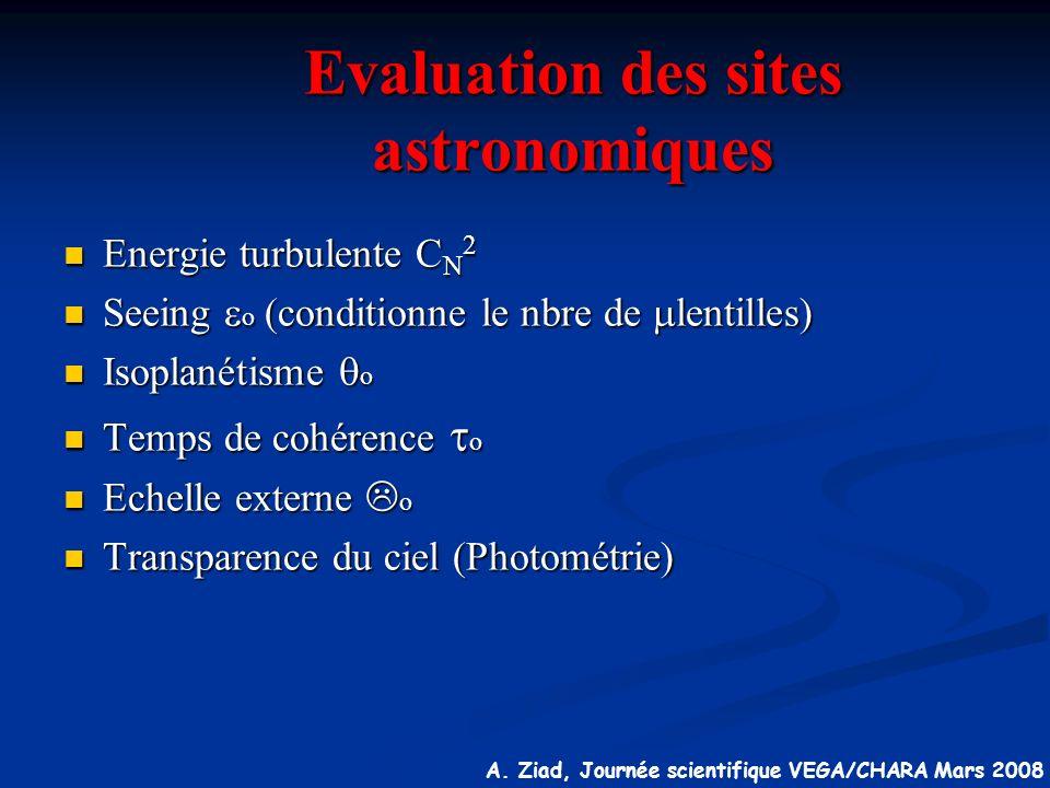 A. Ziad, Journée scientifique VEGA/CHARA Mars 2008 Evaluation des sites astronomiques Energie turbulente C N 2 Energie turbulente C N 2 Seeing o (cond
