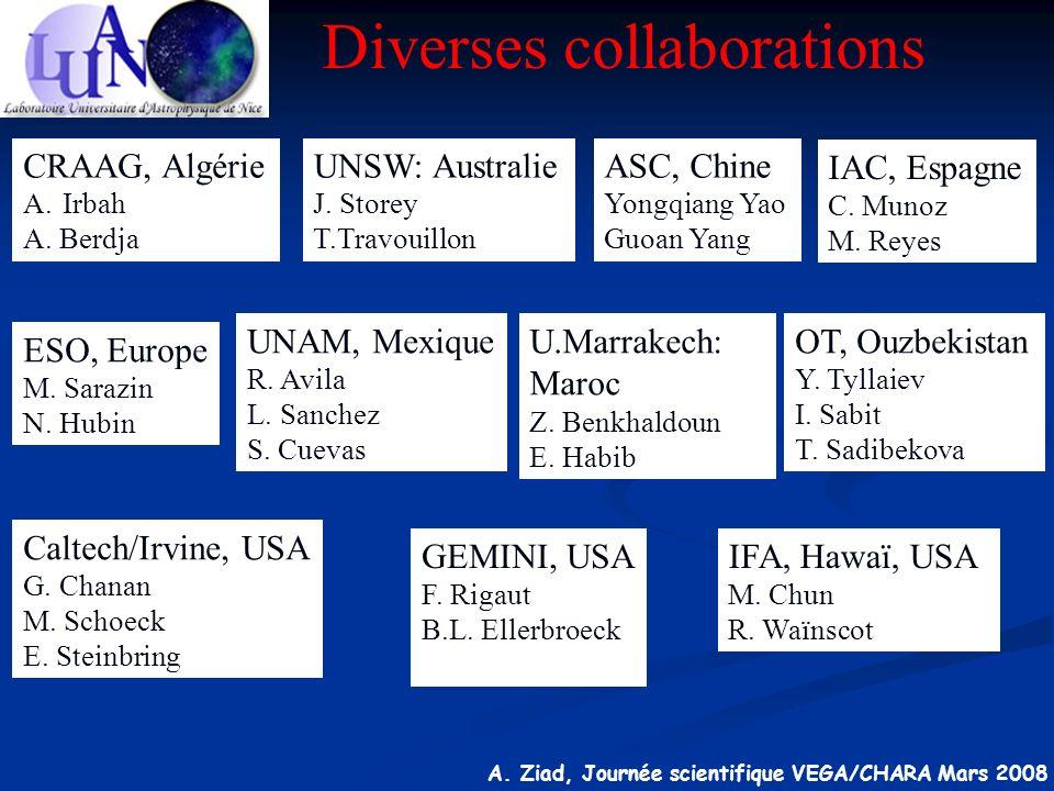 A. Ziad, Journée scientifique VEGA/CHARA Mars 2008 U.Marrakech: Maroc Z. Benkhaldoun E. Habib ESO, Europe M. Sarazin N. Hubin UNAM, Mexique R. Avila L