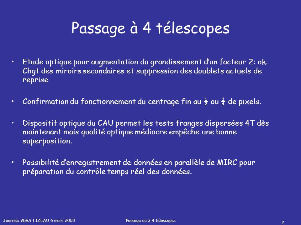 Journée VEGA FIZEAU 6 mars 2008 Passage au 3 4 télescopes 2 Passage à 4 télescopes Etude optique pour augmentation du grandissement dun facteur 2: ok.