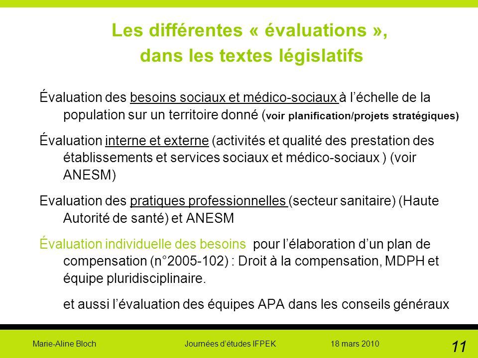 Marie-Aline Bloch Journées détudes IFPEK 18 mars 2010 11 Les différentes « évaluations », dans les textes législatifs Évaluation des besoins sociaux e