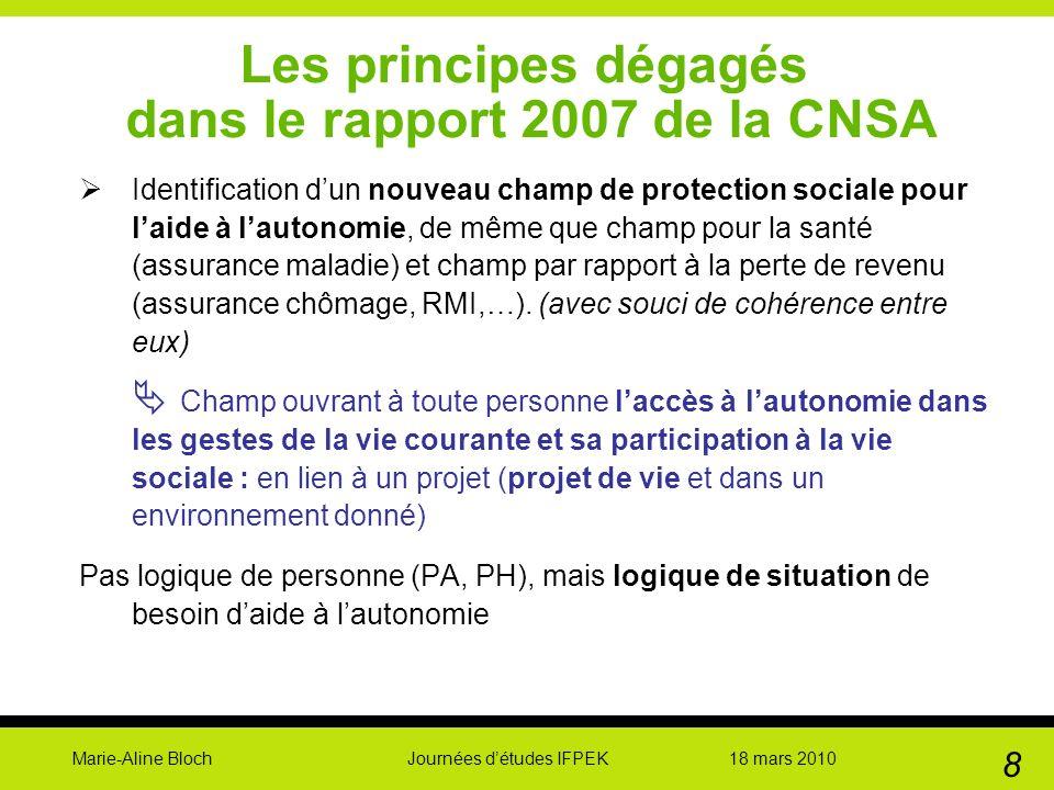 Marie-Aline Bloch Journées détudes IFPEK 18 mars 2010 8 Les principes dégagés dans le rapport 2007 de la CNSA Identification dun nouveau champ de prot