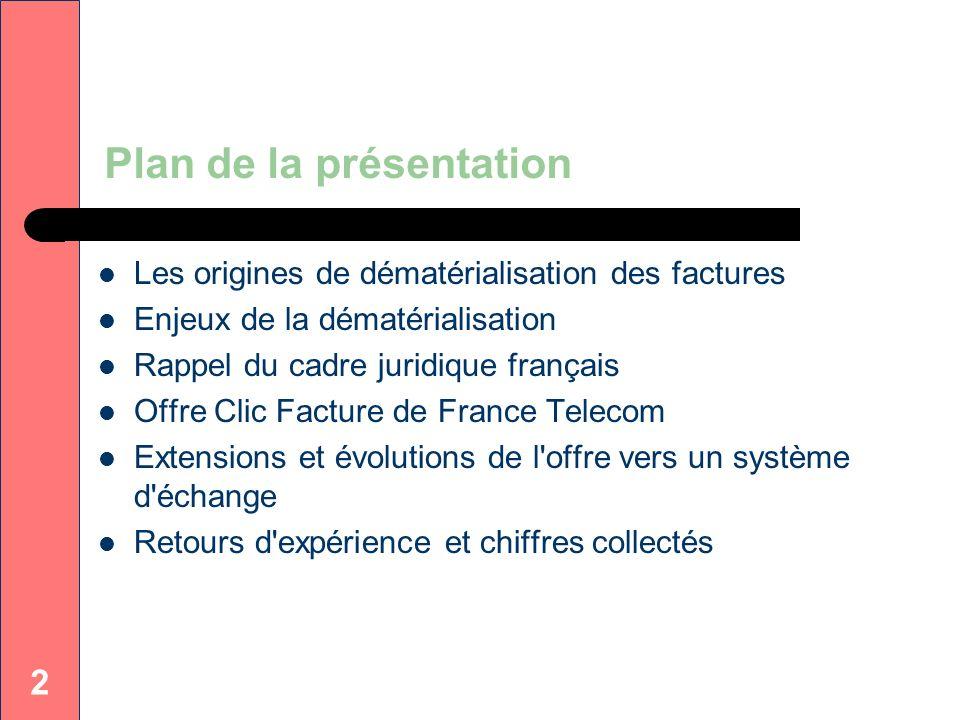 2 Plan de la présentation Les origines de dématérialisation des factures Enjeux de la dématérialisation Rappel du cadre juridique français Offre Clic