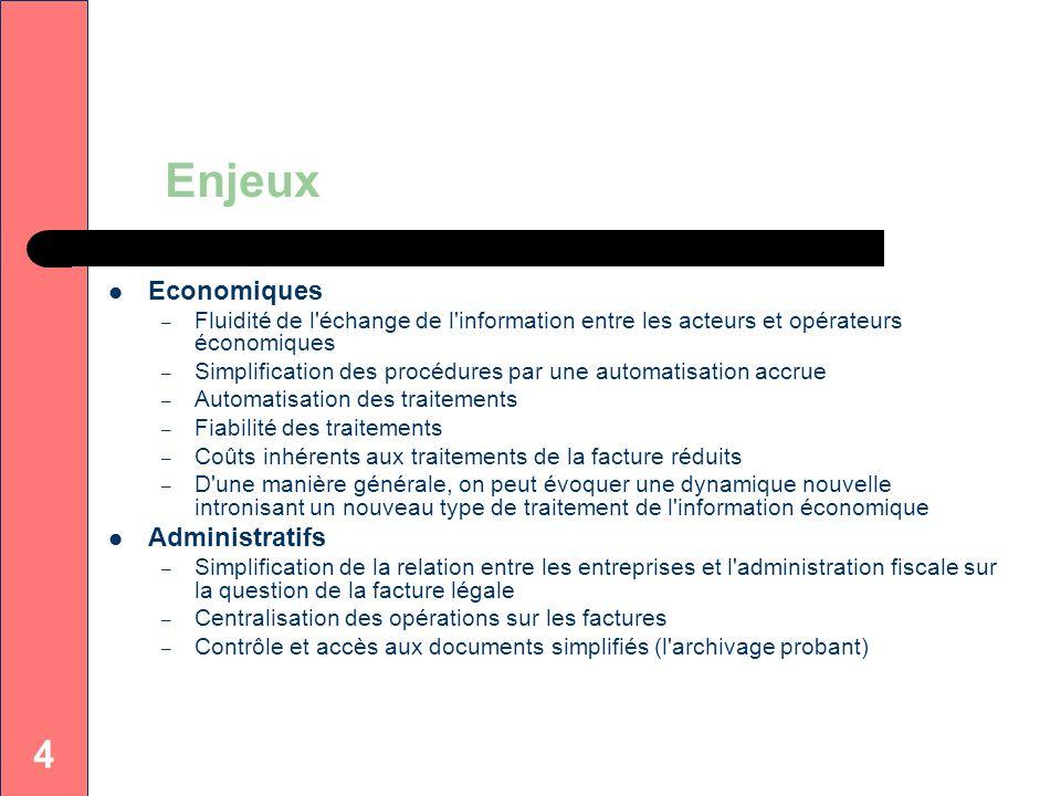 4 Enjeux Economiques – Fluidité de l'échange de l'information entre les acteurs et opérateurs économiques – Simplification des procédures par une auto