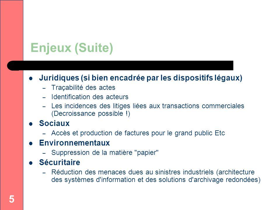 5 Enjeux (Suite) Juridiques (si bien encadrée par les dispositifs légaux) – Traçabilité des actes – Identification des acteurs – Les incidences des li